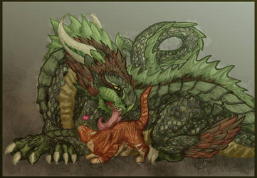 Dragon and Fluffykins by Chromophoric