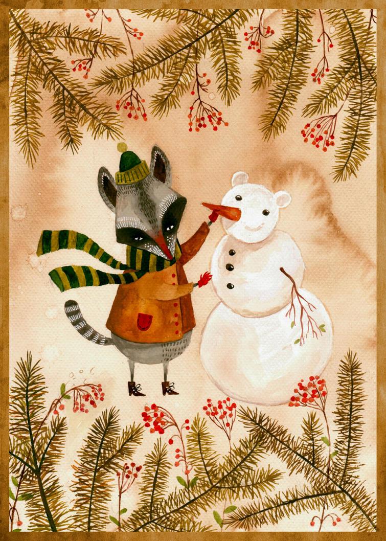 Winter is coming raccoon by haniutek
