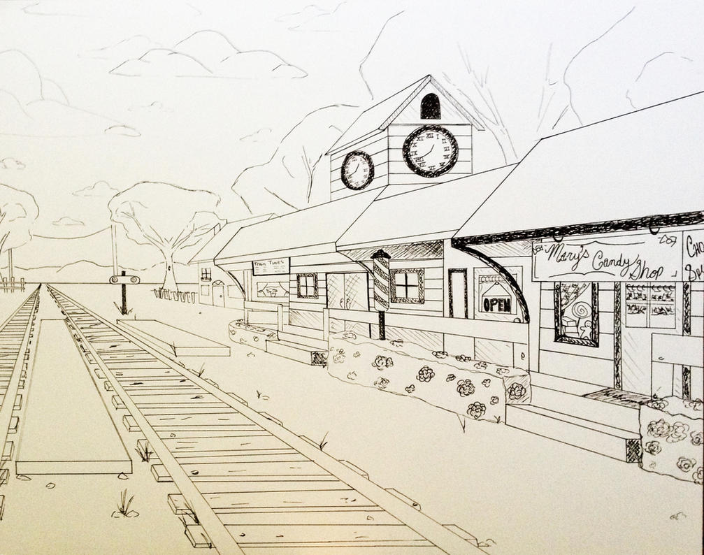 how to draw a train track in one point perspective