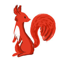 Brush Pen Squirrel by Naoru