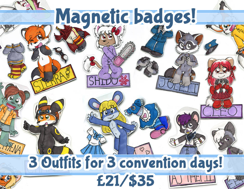 Dress Up Doll magnets/badges open for one month! by Naoru