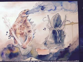 Godzilla and Cthulu Rocking out by NachoBoyIQ
