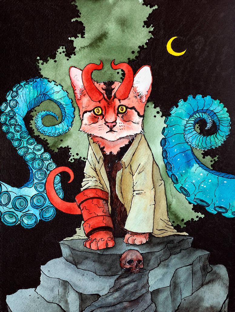 Hellboy Kitty by NachoBoyIQ