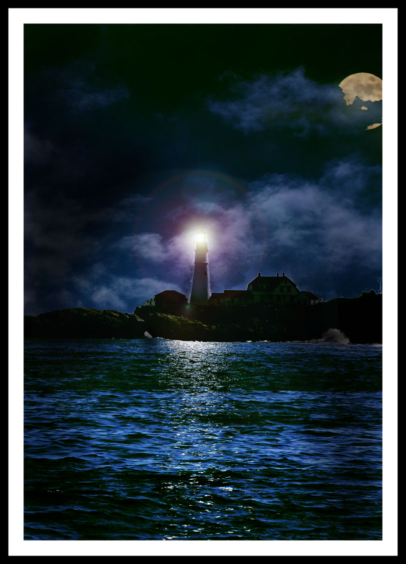 Lighthouses At Night Paintings
