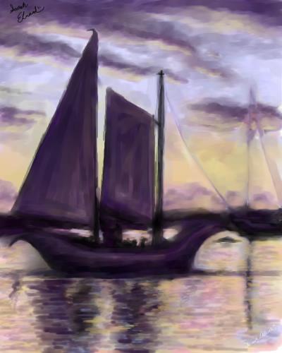 Sailboat at Sunset by SarahNaiya