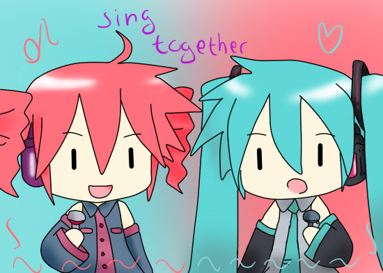 Miku and Teto - sing together by HeiwaNoUta