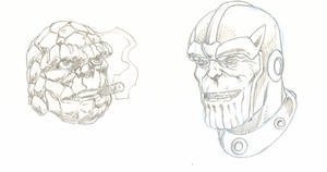 Stone Faces the Thing and Thanos by Joe-Singleton
