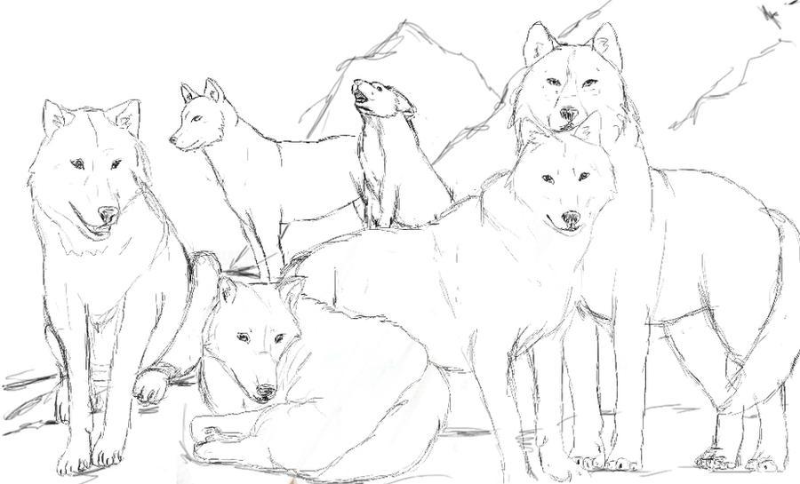 wolf pack line art usable by darckywolf on deviantart