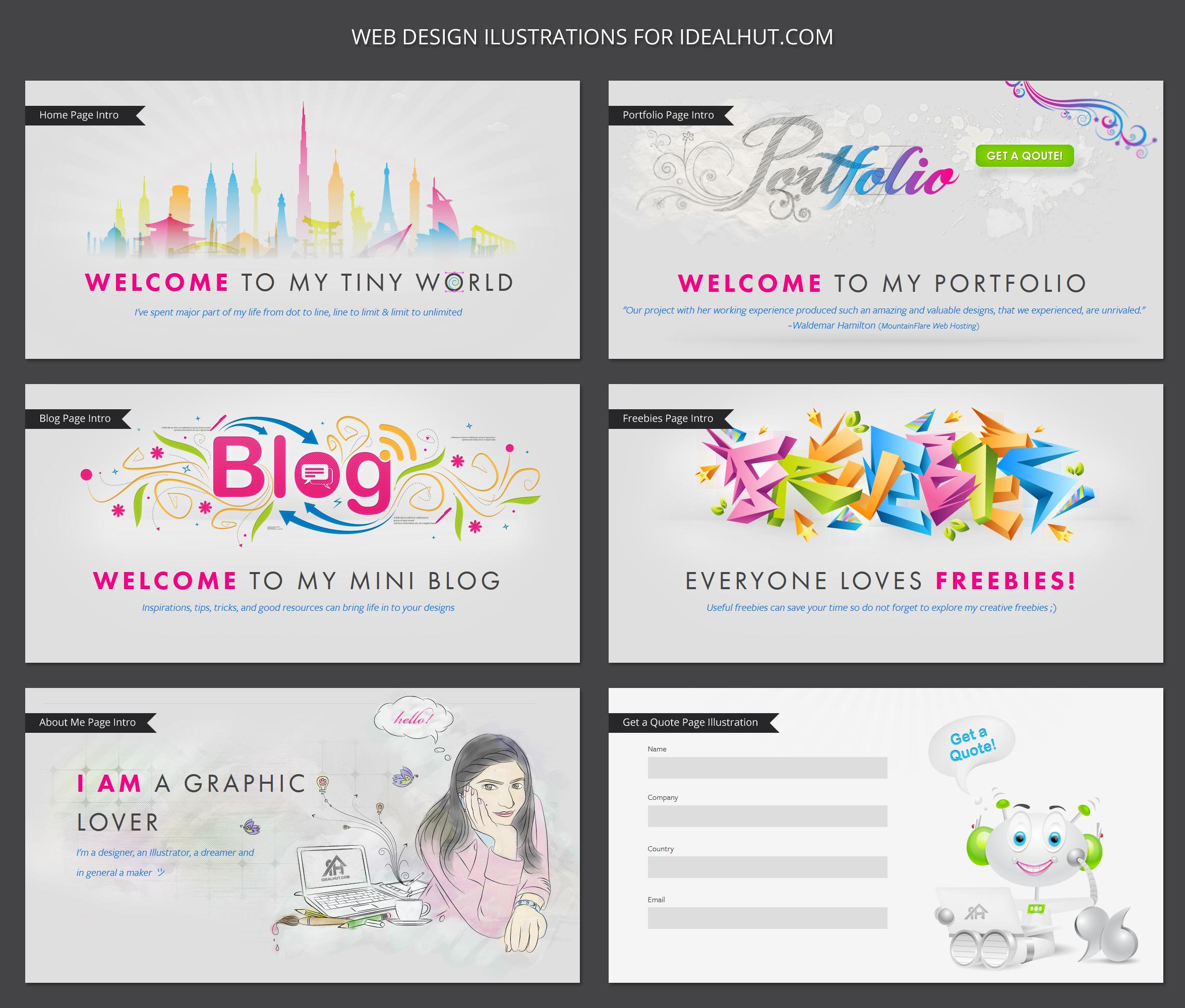 Web design illustrations by design maker on for Website layout maker