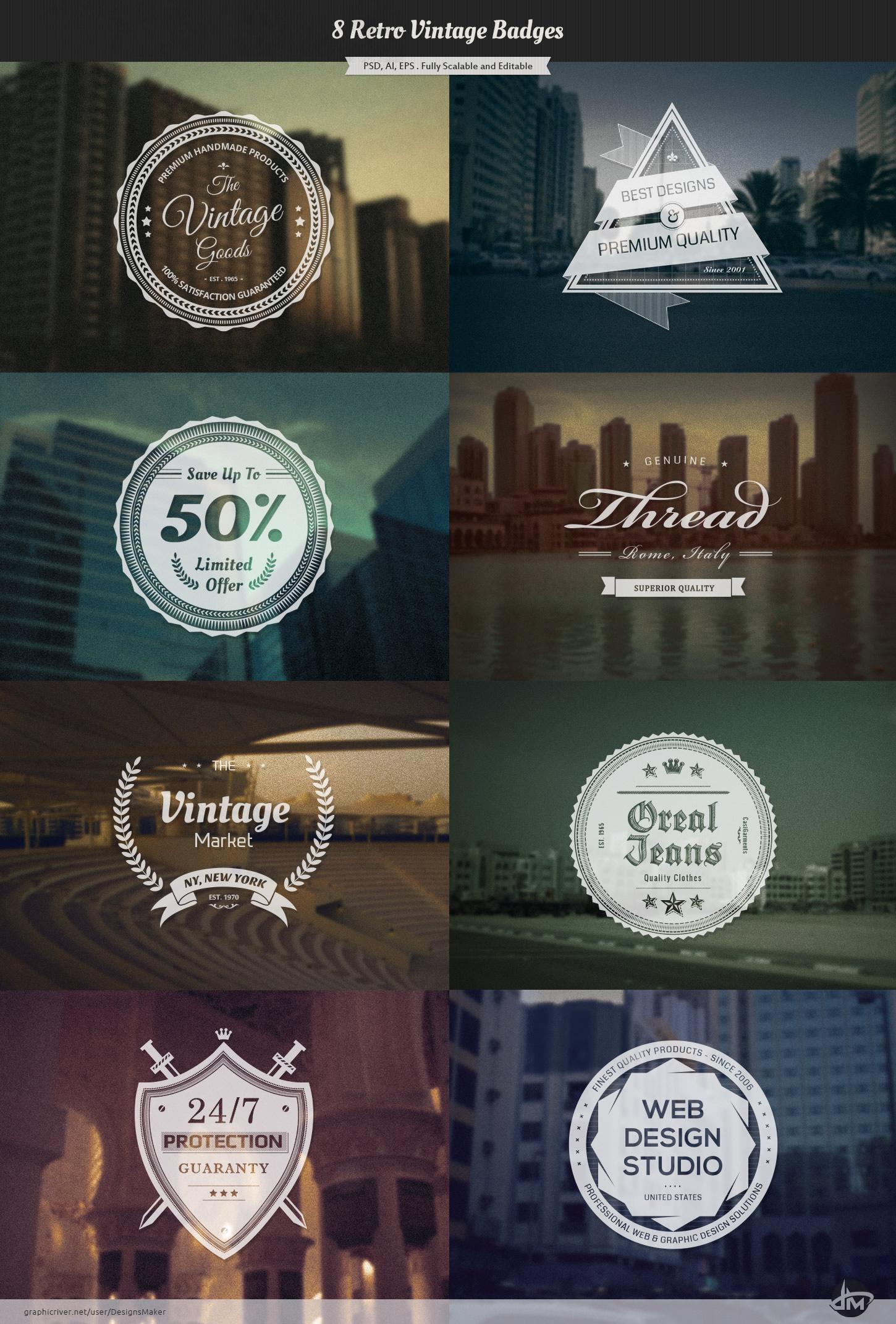 Vintage Retro Badges by Design-Maker