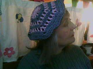 grey and pink crochet beret by Green-Teresa