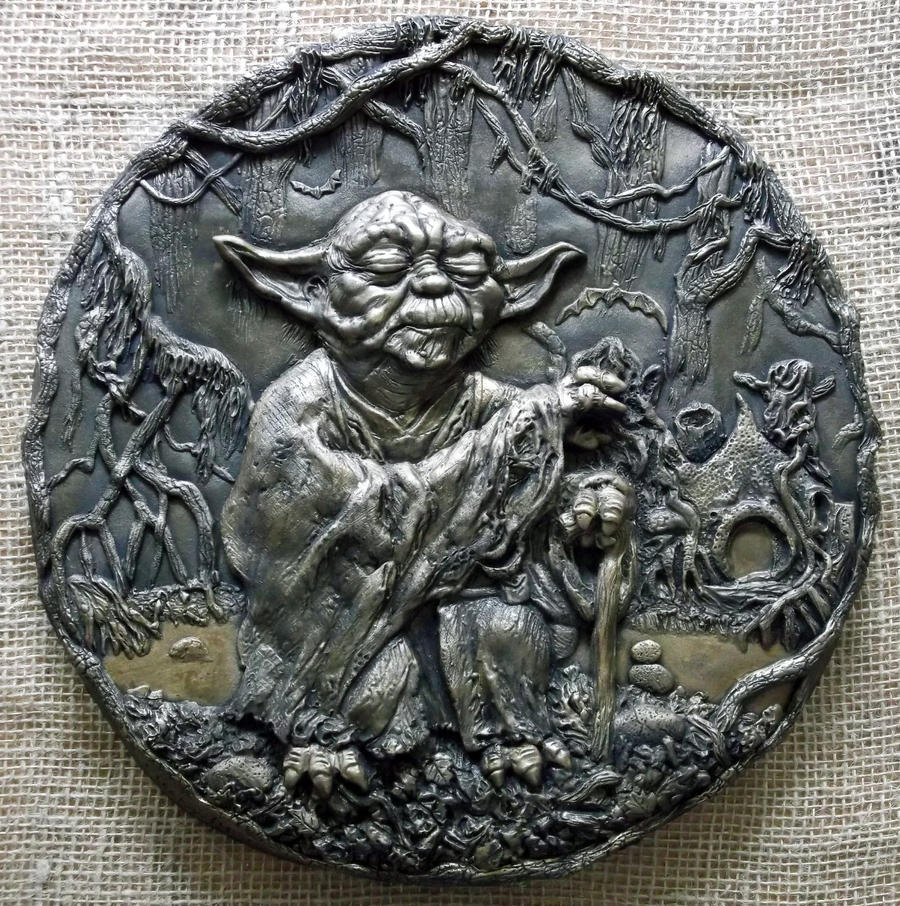 jedi master yoda 3d relief sculpture wall plaque by. Black Bedroom Furniture Sets. Home Design Ideas
