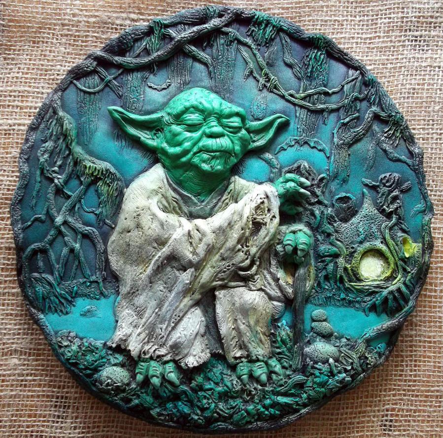 Jedi Master YODA, Star Wars 3D relief sculpture. by Mixta110
