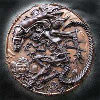 QUEEN ALIEN, Wall plaque sculpture. by Mixta110
