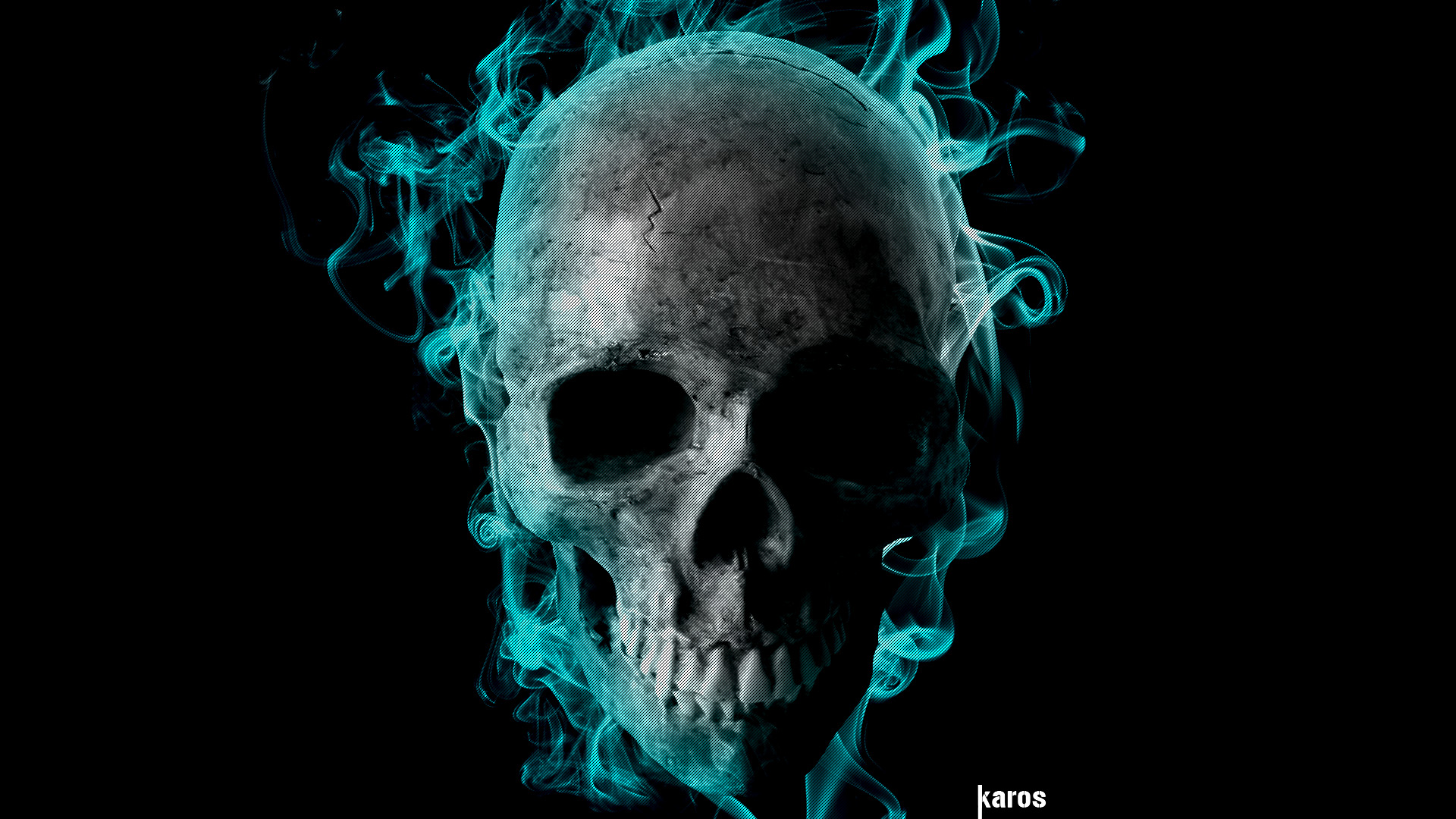 Gbl Hd: The Gallery For --> Skulls On Fire Green