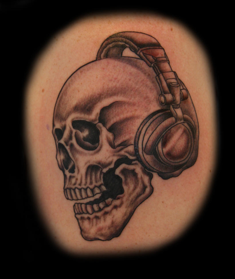 dj skull tattoos images galleries with a bite. Black Bedroom Furniture Sets. Home Design Ideas