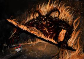 Epic battle against a flaming by Kalopz