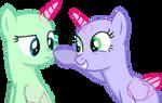 A cute nose boop(Base#5)2-ponies