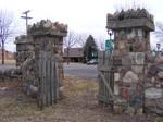 Stone Fence Wood Gate 1