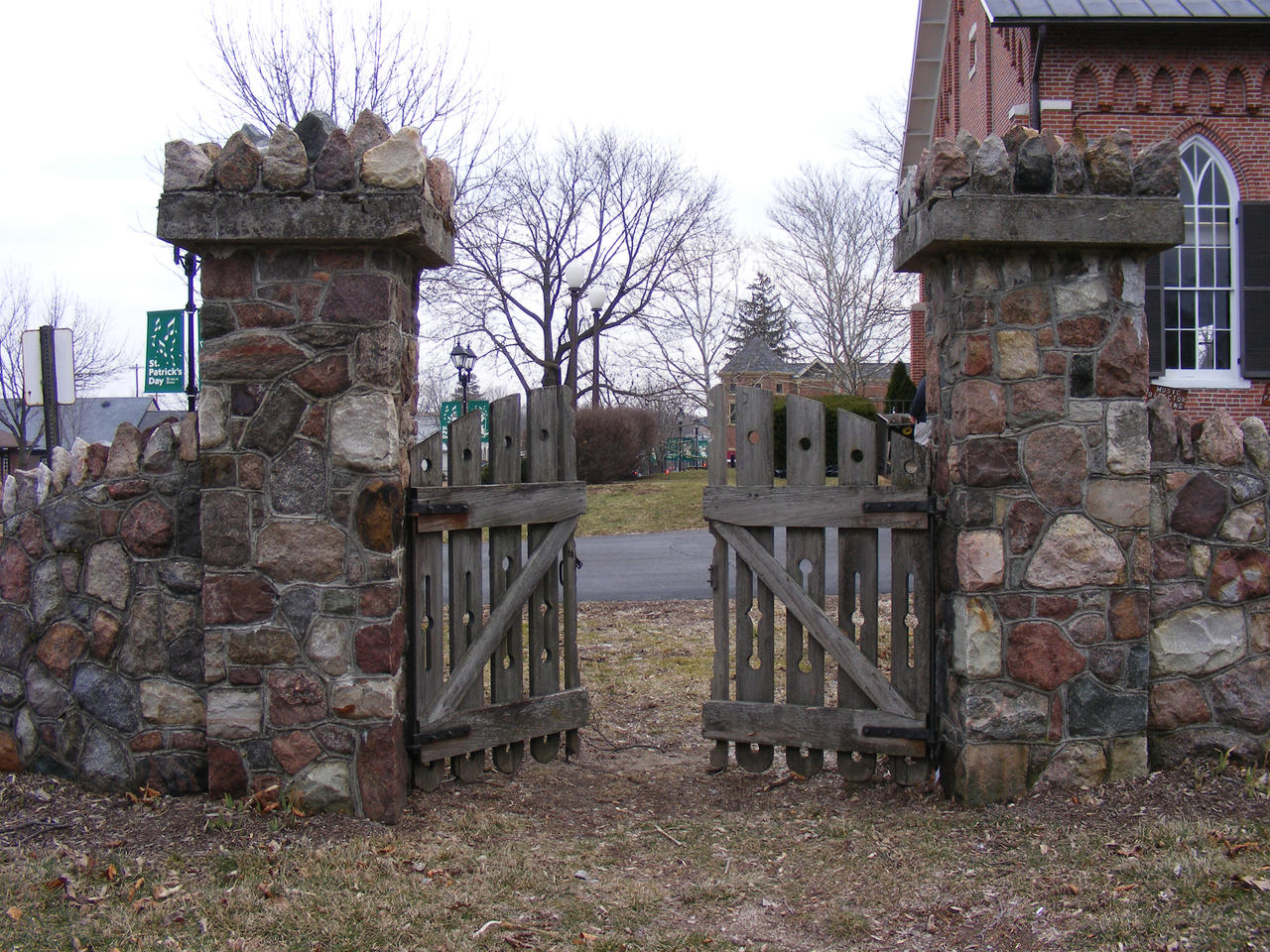 Stone Fence Wooden Gate