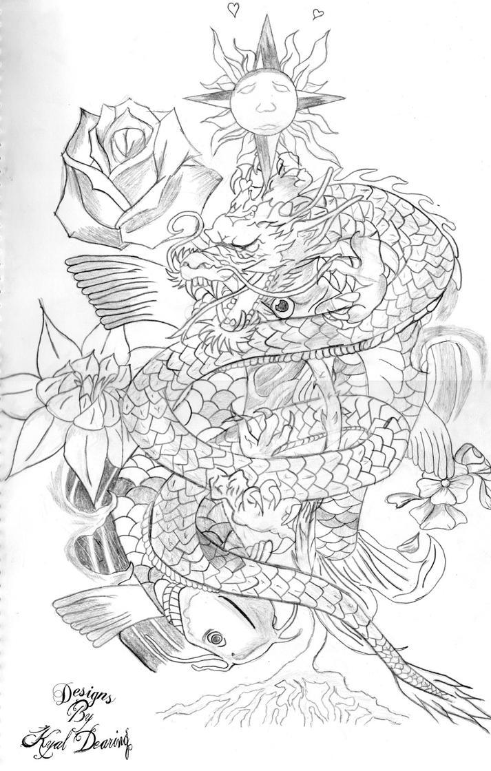 Koi Fish Dragon Tattoo Dragon  Koi Fish Tattoo Design