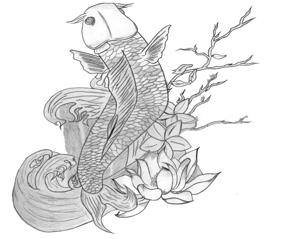 Koi Lotus Drawing Hand Drawn Outline Koi Fish Gold Stock Vector
