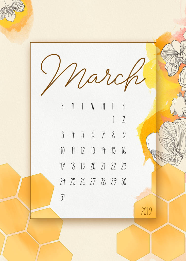 Free March Glance Calendar by randeeGALAXIES