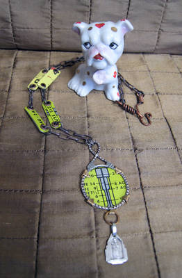 Lime Green Assemblage Necklace