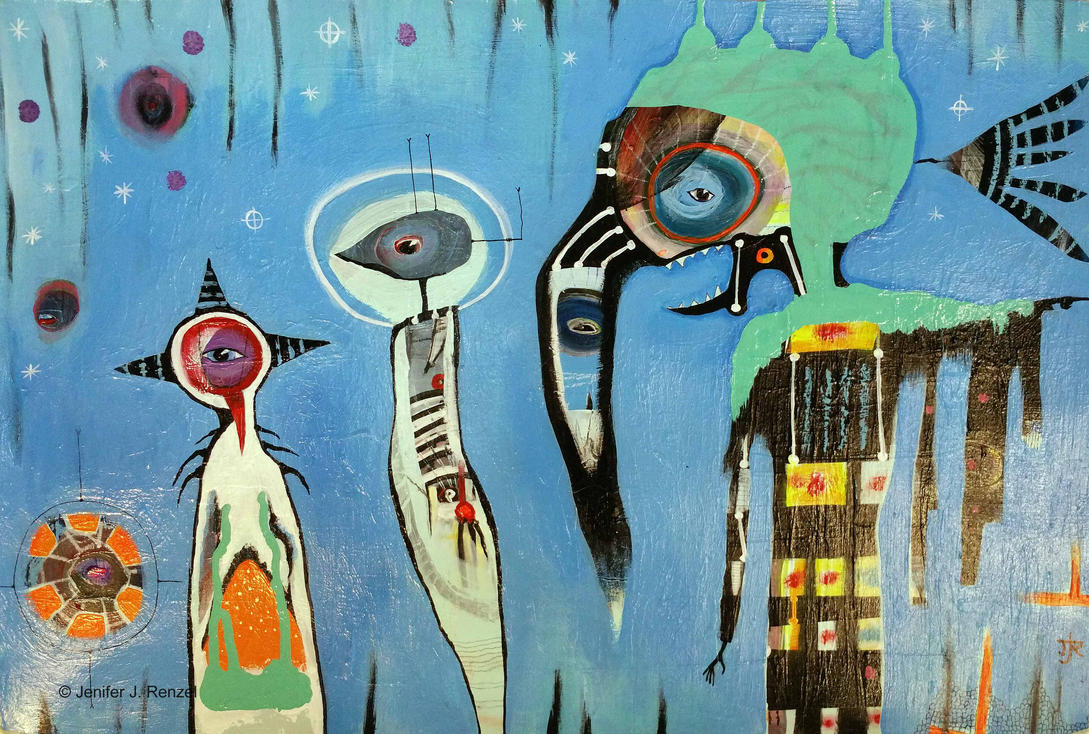 Outsider Art Painting: Totem Pointing East by bugatha1