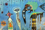 Outsider Art Painting: Totem Pointing East