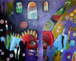 Outsider Art Painting: Aquatic Chimera