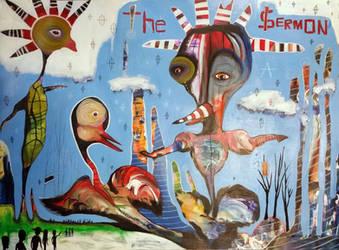 Outsider Art Painting: The Sermon by bugatha1