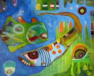 Outsider Art Painting: Deep Sea by bugatha1