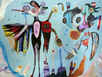 Outsider Art Painting: Moon Gods by bugatha1