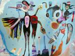 Outsider Art Painting: Moon Gods