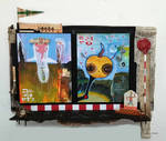Assemblage/painting: Ghosts