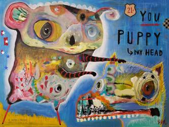 Outsider Art: Puppy Head by bugatha1