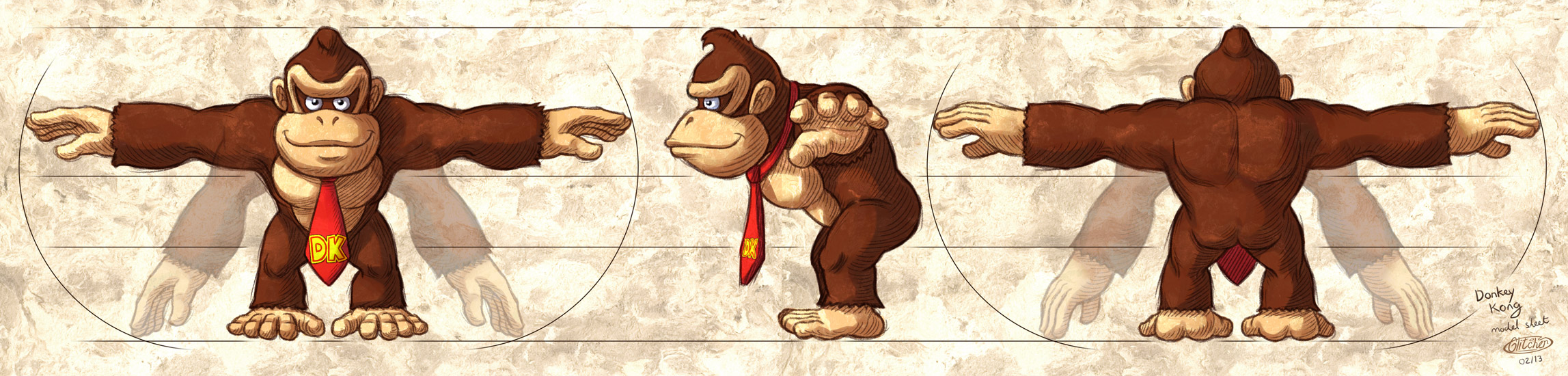 Donkey Kong model sheet by glitcher