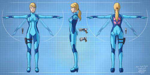 Zero Suit Samus model sheet by glitcher