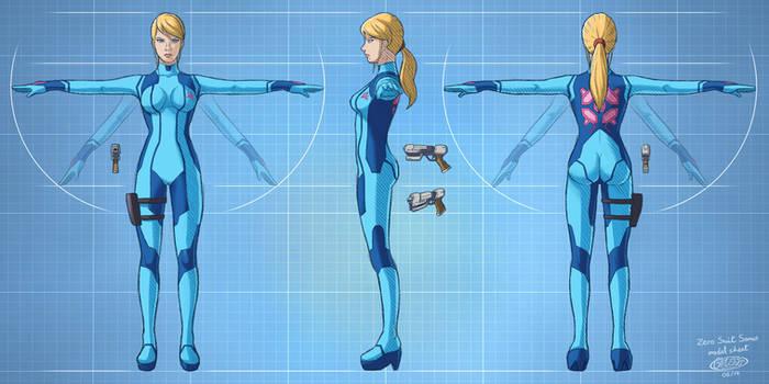 Zero Suit Samus model sheet