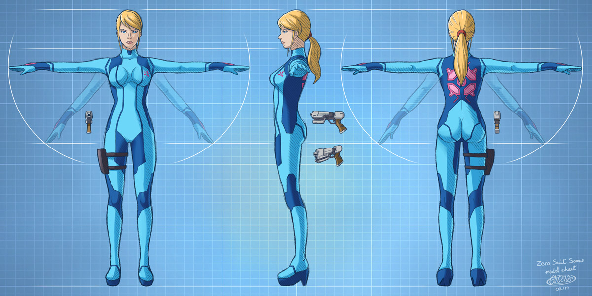 zero suit samus model sheet by glitcher on deviantart