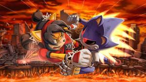 Honey VS. Metal Sonic wallpaper
