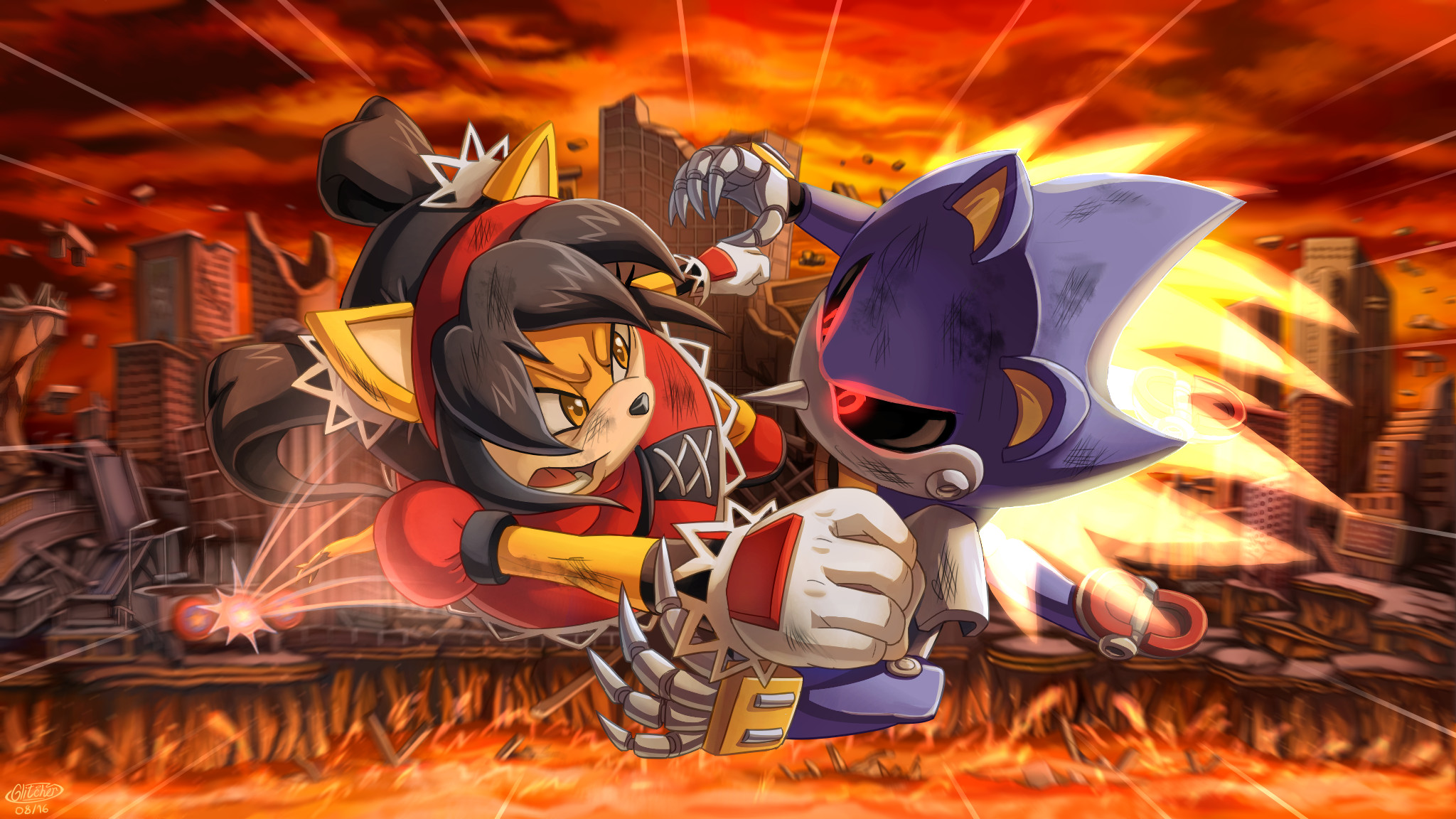 Cool wallpaper of Metal Sonic and Honey the Cat