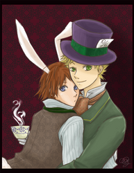 White Rabbit and Hatter by funny-neko
