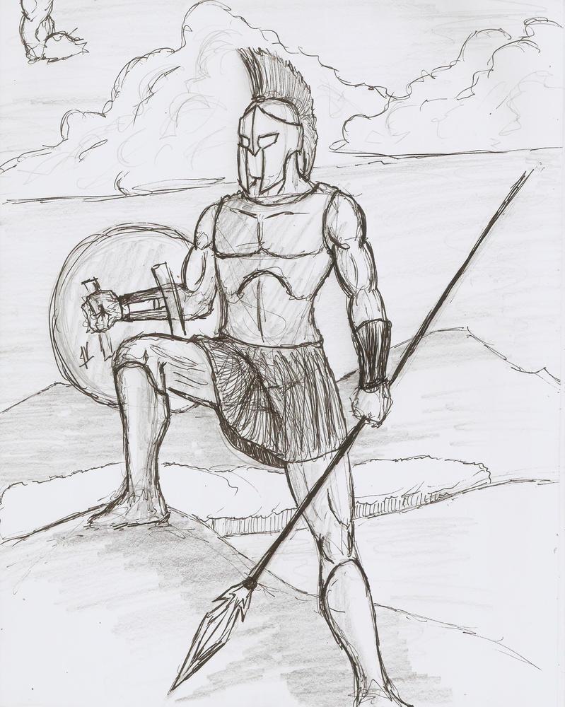 Spartan (Pen Sketch6) by Malkel