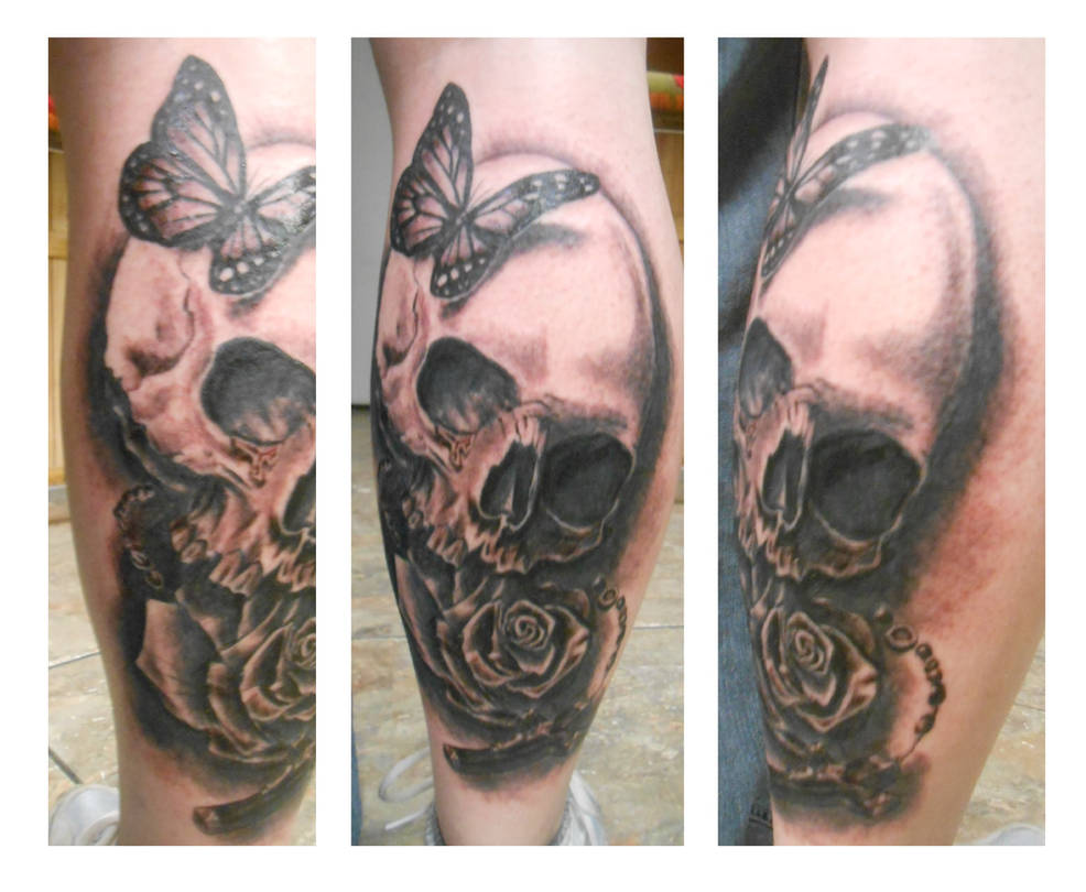 ef798076f Skull/rose/butterfly/rosary greyscale tattoo by goldfish-bloop on ...