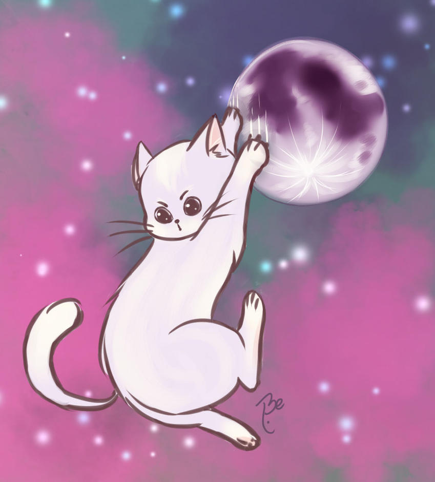 Cat on the Moon by BessiEli