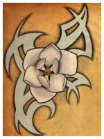 Magnolia Tribal Tattoo Design by jacksonmstattoo