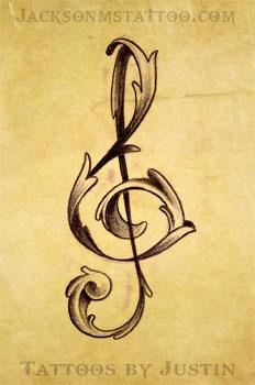 treble clef tattoo by Justin Jackson MS by jacksonmstattoo