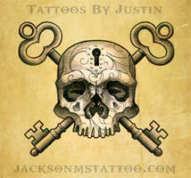 Skull and Key Tattoo Design by jacksonmstattoo